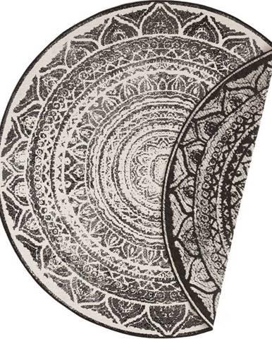 Černo-krémový venkovní koberec Bougari Siruma, ø 140 cm