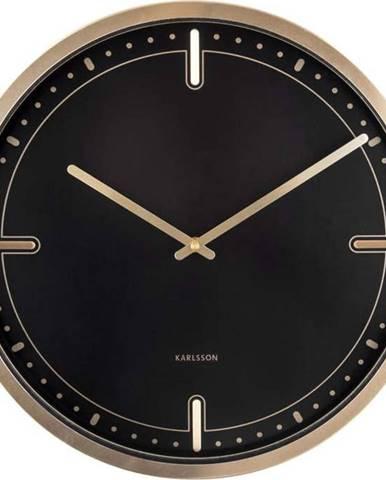 Černé nástěnné hodiny Karlsson Dots, ø 42 cm