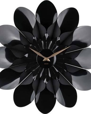 Černé nástěnné hodiny Karlsson Flower, ø 60 cm