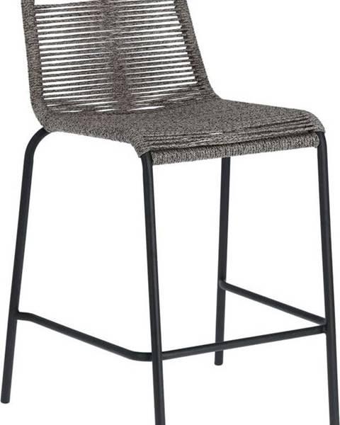 La Forma Šedá barová židle s ocelovou konstrukcí La Forma Glenville, výška 62 cm