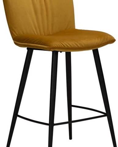 Žlutá sametová barová židle DAN-FORM Denmark Join, výška 93 cm