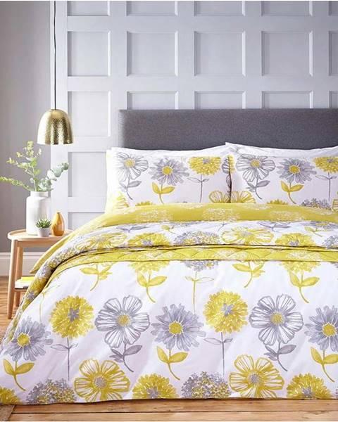 Catherine Lansfield Žluto-bílé povlečení s motivem květin Catherine Lansfield Banbury Floral,200 x 200 cm