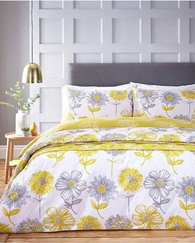 Žluto-bílé povlečení s motivem květin Catherine Lansfield Banbury Floral,200 x 200 cm