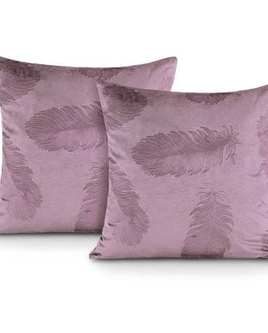 Sada 2 růžových povlaků na polštář se sametovým povrchem AmeliaHome Peacock,45x45cm