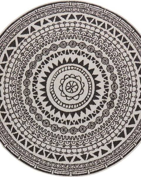 Bougari Černo-krémový venkovní koberec Bougari Coron, ø 140 cm