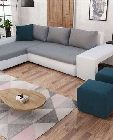 Rohová sedačka s taburety LATINO, levá, šedá látka/modrá látka/bílá ekokůžeNAROŻNIK LATINO Z PUFAMI