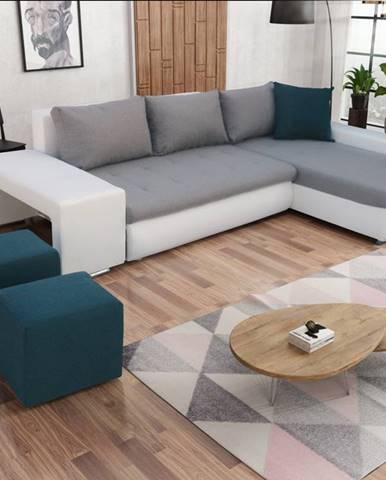 Rohová sedačka s taburety LATINO, pravá, šedá látka/modrá látka/bílá ekokůžeNAROŻNIK LATINO ZPUFAMI