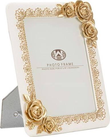 Béžový fotorámeček s detaily ve zlaté barvě Mauro Ferretti Rose,21x26cm