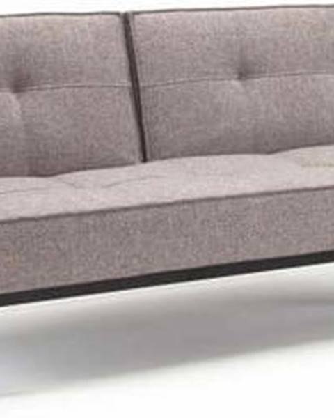 Innovation Šedá rozkládací pohovka s dřevěnou podnoží Innovation Splitback Mixed Dance Grey