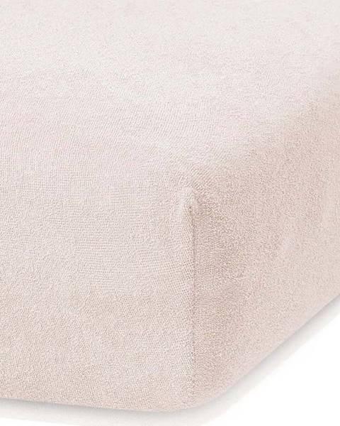 AmeliaHome Světle béžové elastické prostěradlo s vysokým podílem bavlny AmeliaHome Ruby, 140/160 x 200 cm