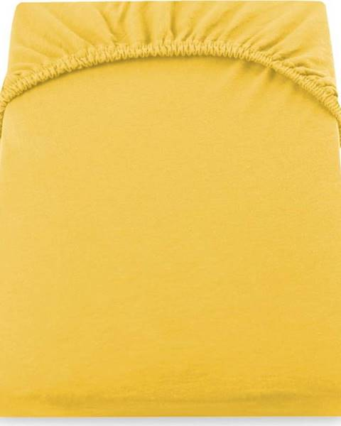 DecoKing Žluté džersejové prostěradlo DecoKing Amber Collection, 160/180 x 200 cm