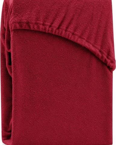 Tmavě červené elastické prostěradlo na dvoulůžko AmeliaHome Ruby Siesta, 180/200 x 200 cm