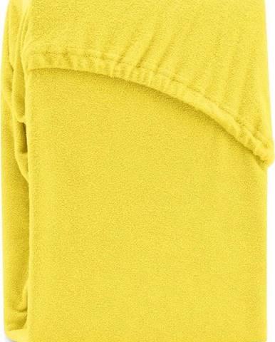 Žluté elastické prostěradlo na dvoulůžko AmeliaHome Ruby Siesta, 180/200 x 200 cm