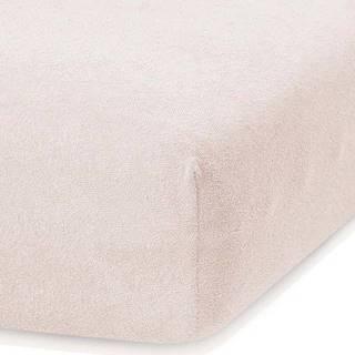 Světle béžové elastické prostěradlo s vysokým podílem bavlny AmeliaHome Ruby, 140/160 x 200 cm