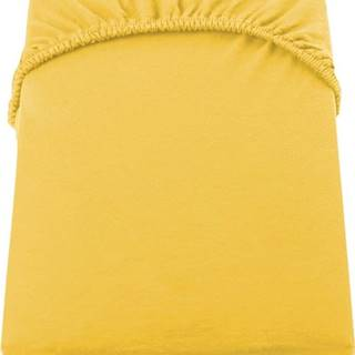 Žluté džersejové prostěradlo DecoKing Amber Collection, 160/180 x 200 cm