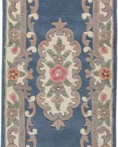 Modrý vlněný koberec Flair Rugs Aubusson,67x210cm