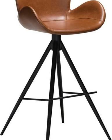 Koňakově hnědá barová židle z eko kůže DAN–FORM Denmark Gaia, výška 97 cm