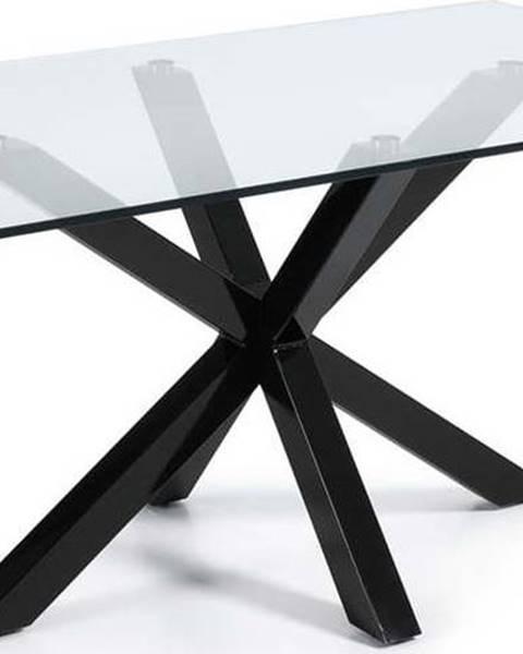 La Forma Jídelní stůl se skleněnou deskou La Forma s černým podnožím, 160 x 90 cm