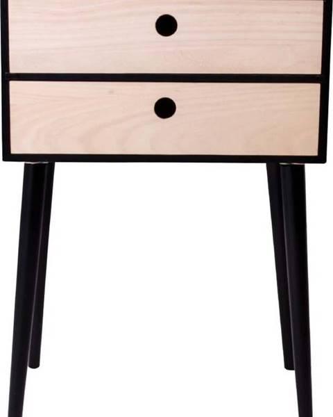 House Nordic Noční stolek ze dřeva pavlovnie s černým rámem House Nordic Rimini