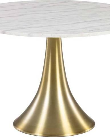 Bílý kulatý jídelní stůl v mramorovém dekoru La Forma, ø 120 cm