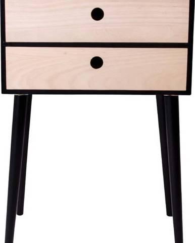 Noční stolek ze dřeva pavlovnie s černým rámem House Nordic Rimini