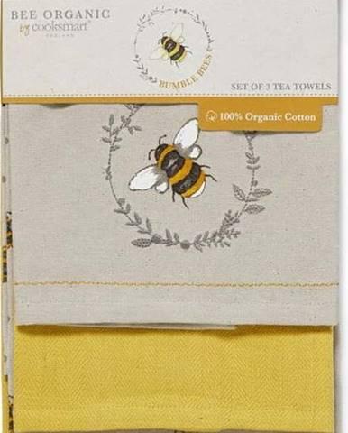 Sada 3 béžovo-žlutých bavlněných kuchyňských utěrek Cooksmart ® Bumble Bees