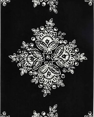 Černobílý koberec Hanse Home Gloria Blossom, 80x150cm