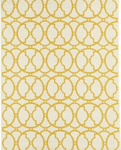 Béžovo-žlutý venkovní koberec Floorita Interlaced, 133 x 190 cm