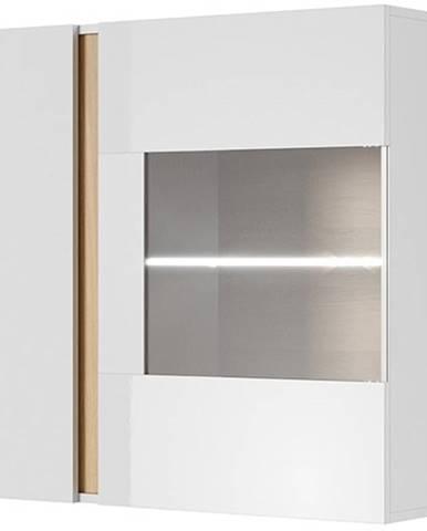 Závěsná vitrína ARDEN 96 LED, bílá/dub/bílý lesk
