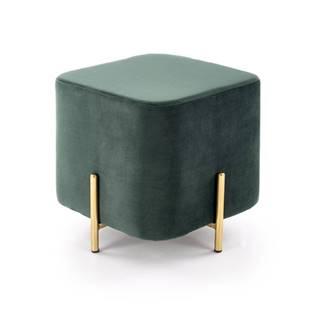 Halmar Sametový taburet Corno, tmavě zelený