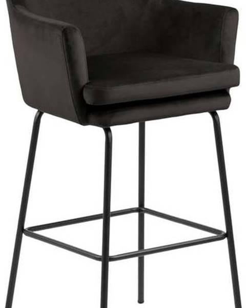 Actona Černá sametová barová židle Actona Chisa