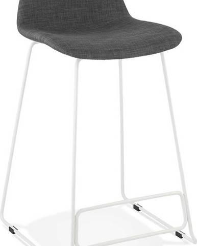 Černá barová stolička s bílýma nohoma Kokoon Vancouver mini, výškasedu66cm
