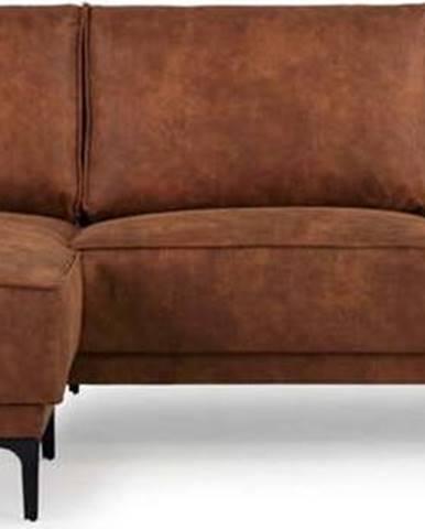 Koňakově hnědá rohová pohovka s lenoškou z imitace kůže Scandic Copenhagen, levý roh