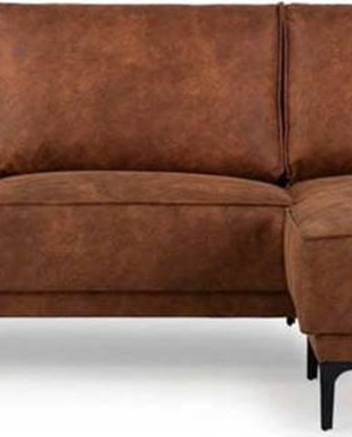 Koňakově hnědá rohová pohovka s lenoškou z imitace kůže Scandic Copenhagen, pravý roh