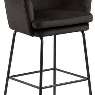 Černá sametová barová židle Actona Chisa