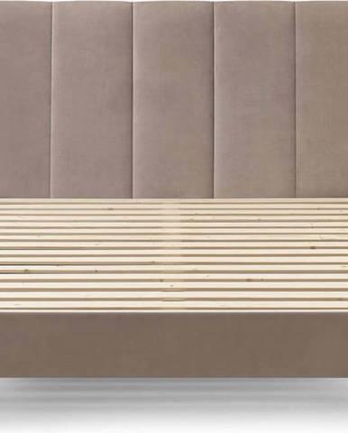 Béžová sametová dvoulůžková postel Bobochic Paris Vivara Dark,160x200cm