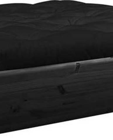 Černá dvoulůžková postel z masivního dřeva s úložným prostorem a černým futonem Comfort Karup Design, 140x200cm