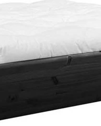 Černá dvoulůžková postel z masivního dřeva s úložným prostorem a futonem Double Latex Karup Design, 180x200cm