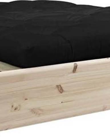 Dvoulůžková postel z masivního dřeva s černým futonem Comfort a tatami Karup Design, 140x200cm