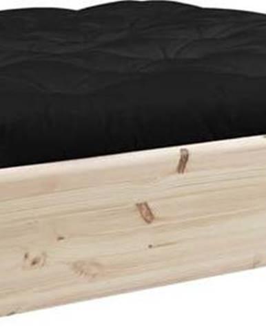 Dvoulůžková postel z masivního dřeva s úložným prostorem a černým futonem Double Latex Karup Design, 160x200cm