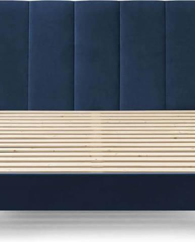 Tmavě modrá sametová dvoulůžková postel Bobochic Paris Vivara Dark,180x200cm