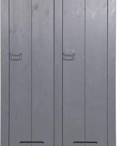 Ocelově šedá dvoukřídlá skříň WOOOD Kluis