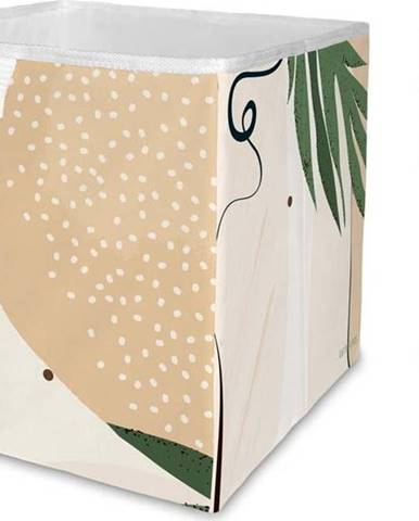 Béžový úložný box z mikrovlákna Butter Kings Abstract Dark,32 l