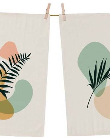 Sada 2 bavlněných kuchyňských utěrek Butter Kings Botanical Art Light, 70 x 50 cm