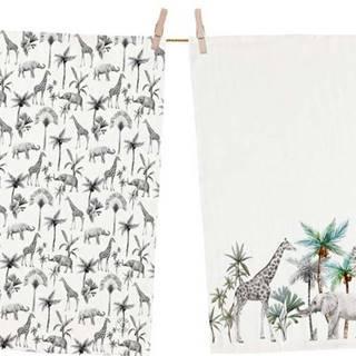 Sada 2 bavlněných utěrek Butter Kings Safari Animals,50x70 cm