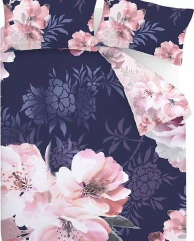 Modro-růžové povlečení Catherine Lansfield Dramatic Floral, 135 x 200 cm