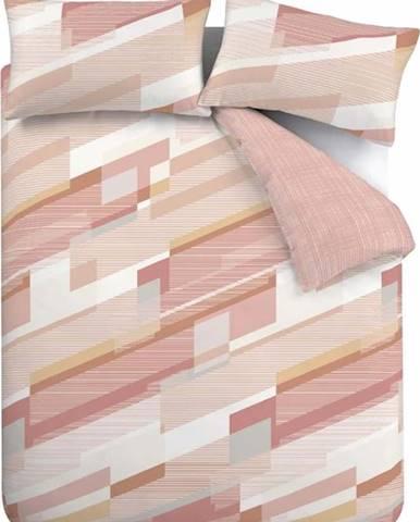 Růžové povlečení Catherine Lansfield Harley Geo, 135 x 200 cm