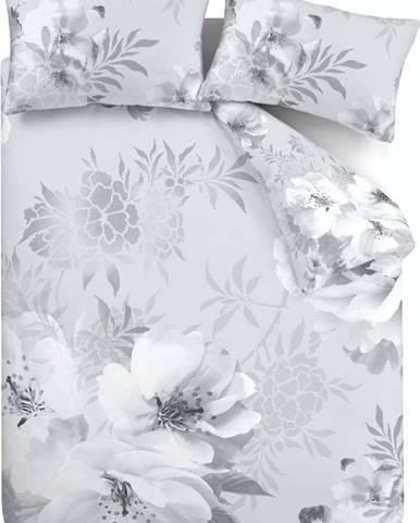 Šedé povlečení Catherine Lansfield Dramatic Floral, 200 x 200 cm
