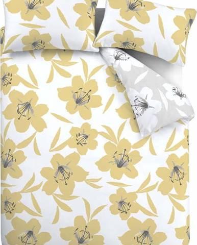 Žluto-bílé povlečení Catherine Lansfield Lily, 135 x 200 cm