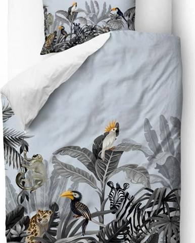 Modro-šedé povlečení z bavlněného saténu Butter Kings Exotic Animals,135x200cm
